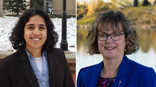 Calgary-Glenmore Progressive Conservative candidate Linda Johnson (right) is applying for a judicial recount after a previous Elections Alberta recount had NDP candidate Anam Kazim pull ahead by six votes.
