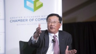 BlackBerry chief executive John Chen is shown speaking at the Kitchener-Waterloo Chamber of Commerce on the company's turnaround strategy in a question-and-answer event in Kitchener on Tuesday, May 5, 2015. THE CANADIAN PRESS/Hannah Yoon