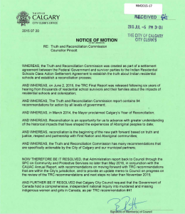 Calgary City Council truth and reconciliation national inquiry into missing and murdered Aboriginal women