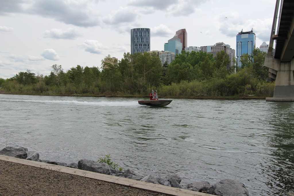 Calgary Fire Department River Rescue Unit Heading Up Stream