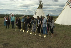 The sod-turning ceremony for a new All Chief's Sportsplex on the Tsuu T'ina First Nation - July 30, 2015