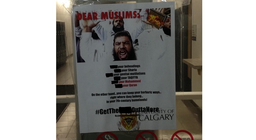 University of Calgary campus hit with 40 Islamophobic posters