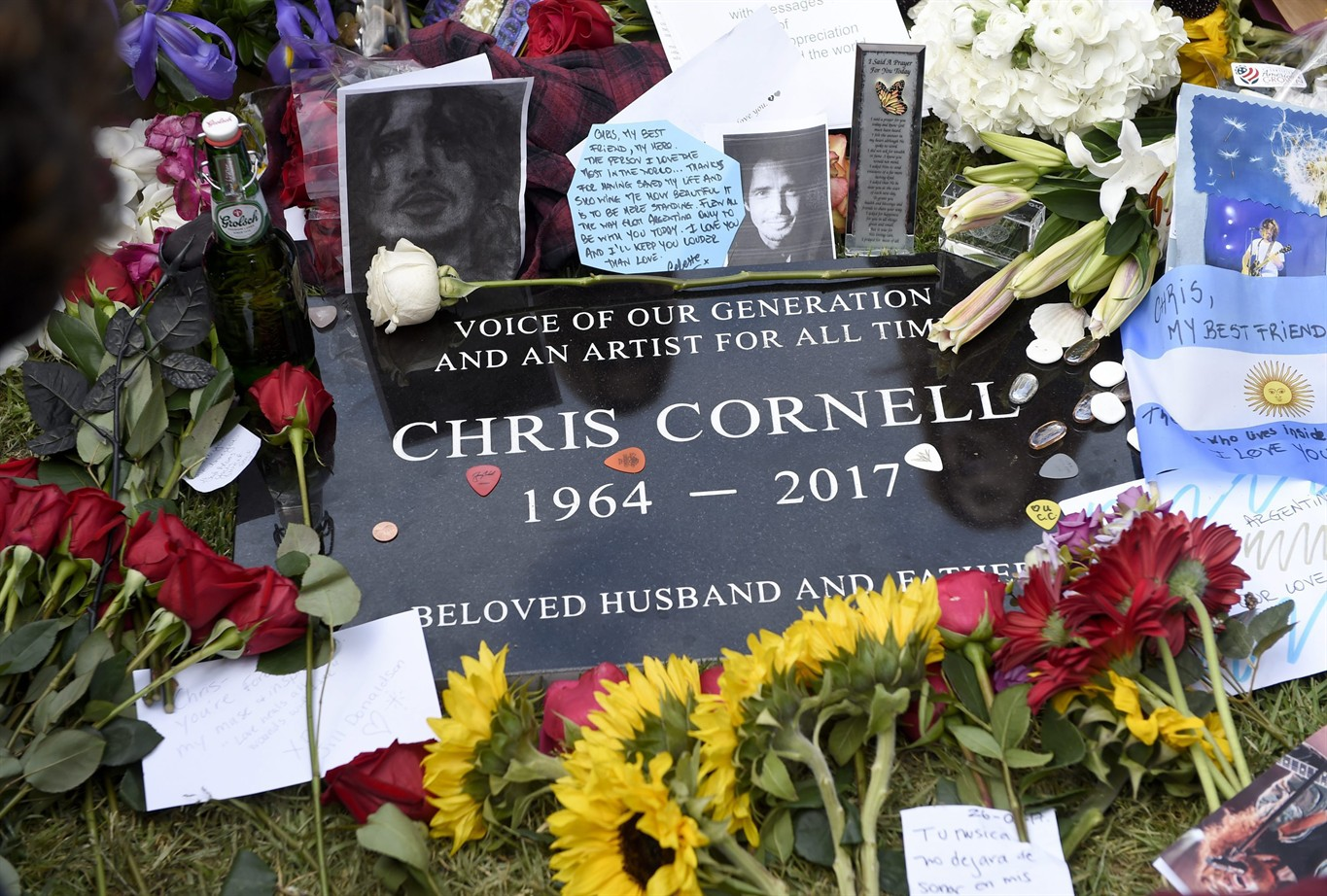 Rocker chris cornell remembered as voice of our generation 660 news a plaque marking chris cornells gravesite appears covered in guitar picks flowers photos and notes following the late singers funeral at the hollywood izmirmasajfo