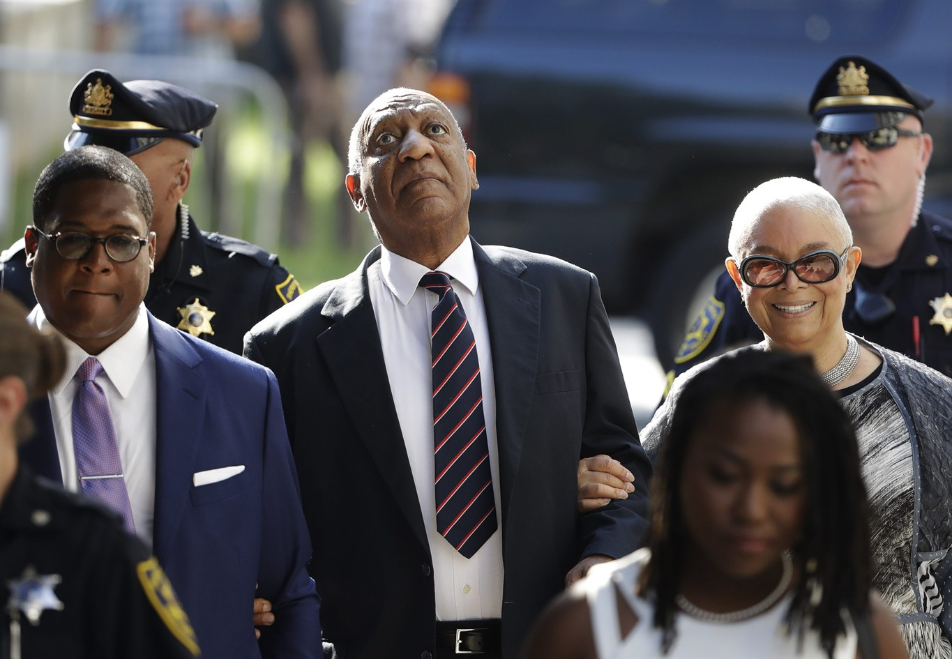 Bill Cosby arrives for his sexual assault trial with his wife Camille Cosby,  right, at the Montgomery County Courthouse in Norristown, Pa., Monday, June  12, ...
