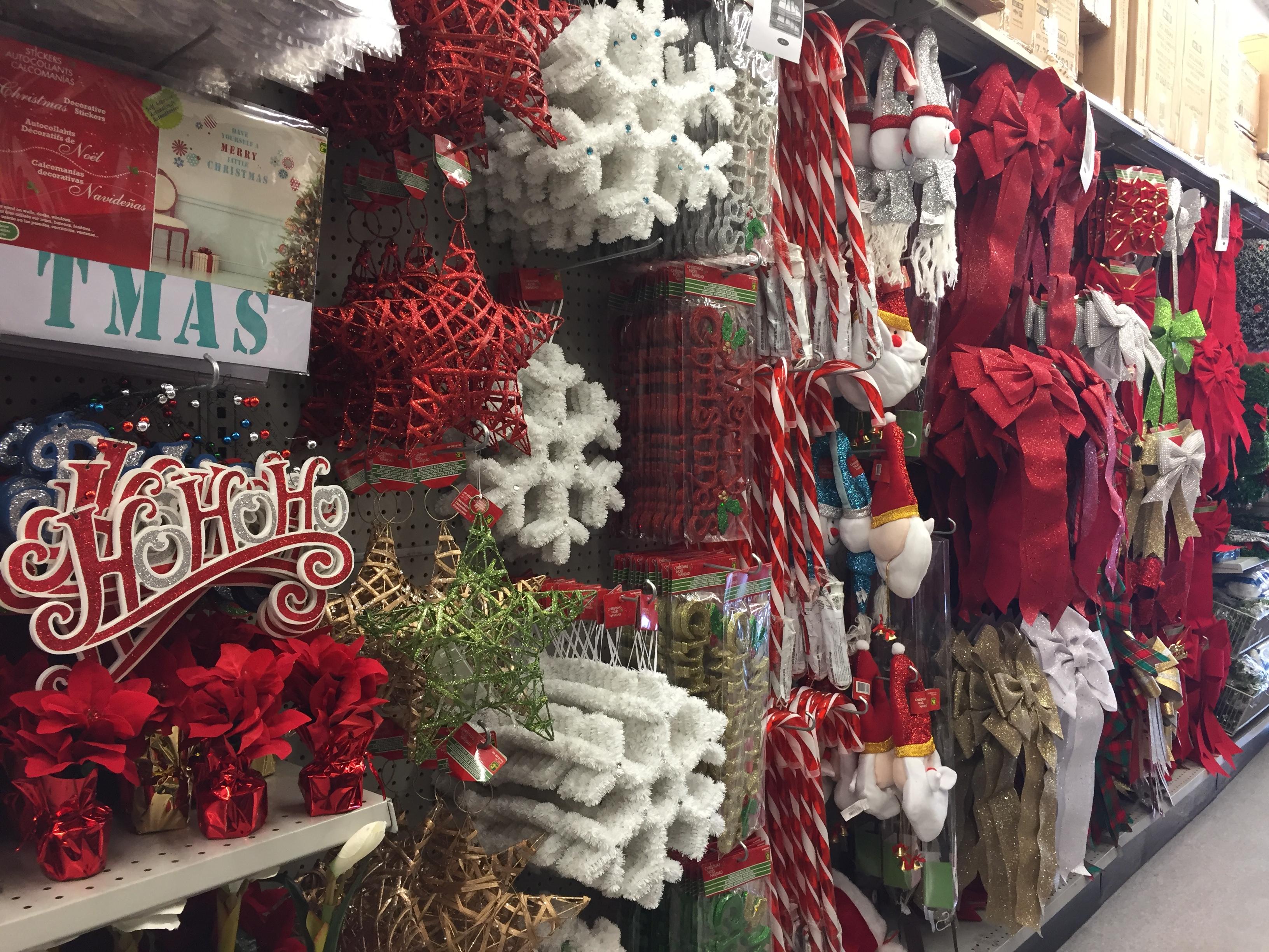 A Whole Aisle In A Calgary Dollarama Offers Holiday Decor