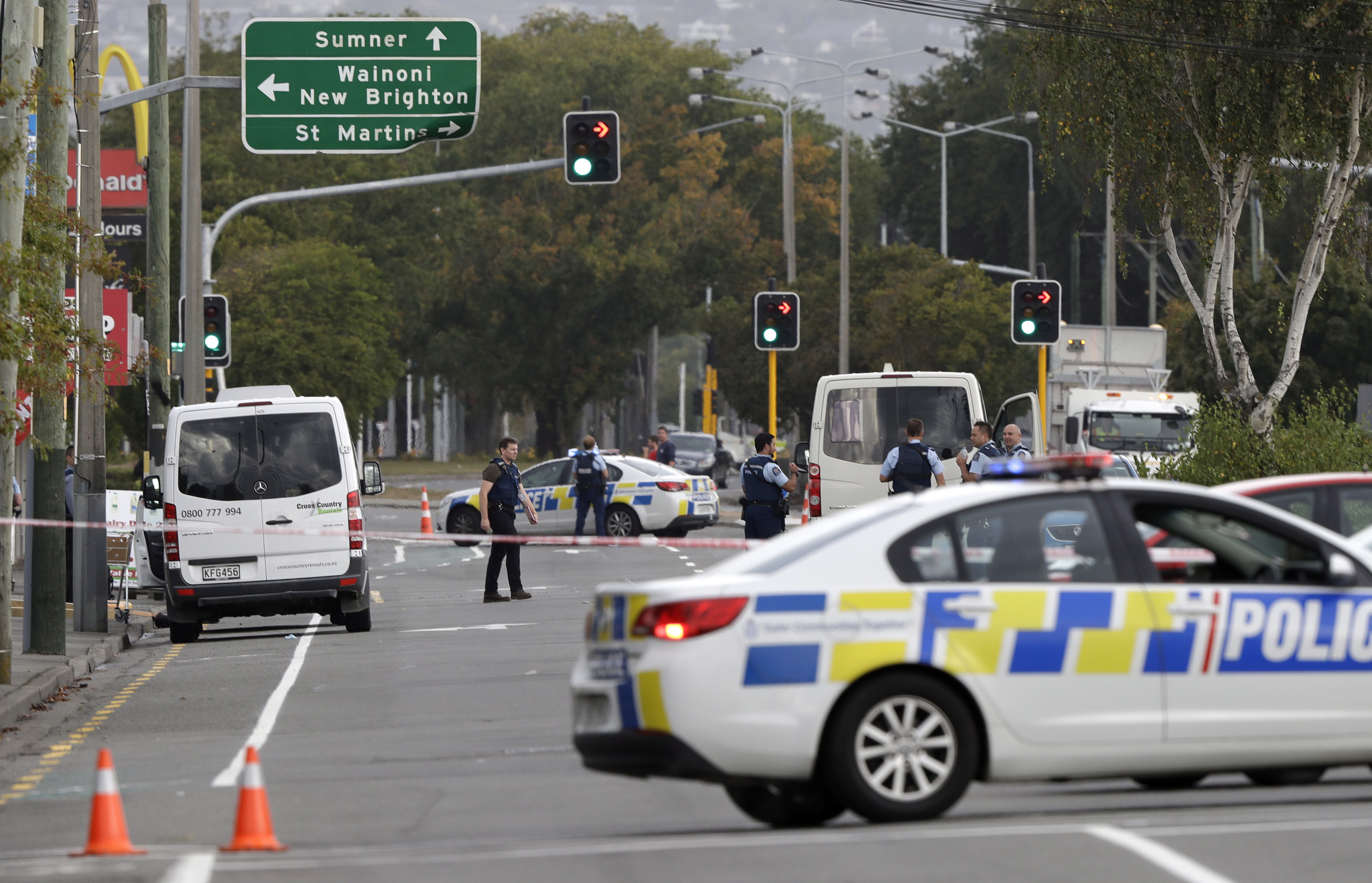 New Zealand Mosque Shooting Photo: Police Block The Road Near The Shooting At A Mosque In