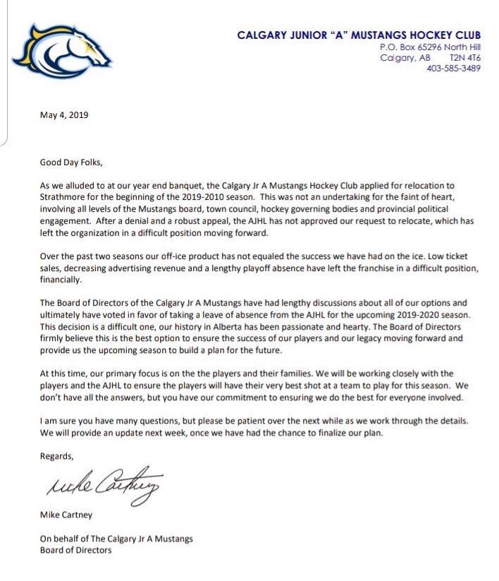 Future of Calgary Mustangs Junior A hockey team in jeopardy