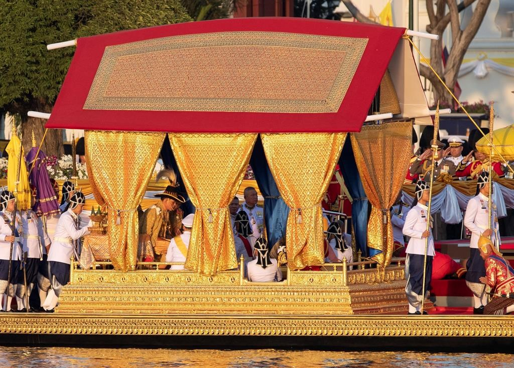 Image result for Thai king completes coronation year with barge procession through old Bangkok
