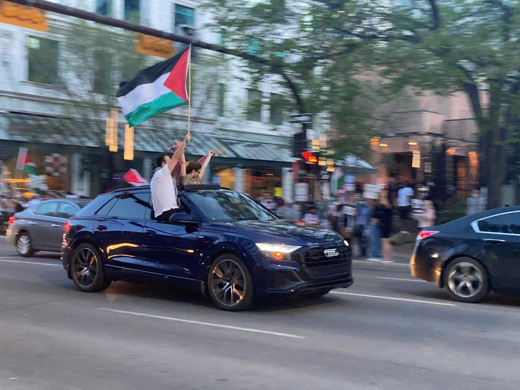 Pro-Palestine rally in Calgary stops traffic; thousands gather at protests across North America
